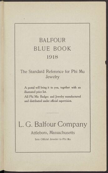 L. G. Balfour Company Advertisement (Image)