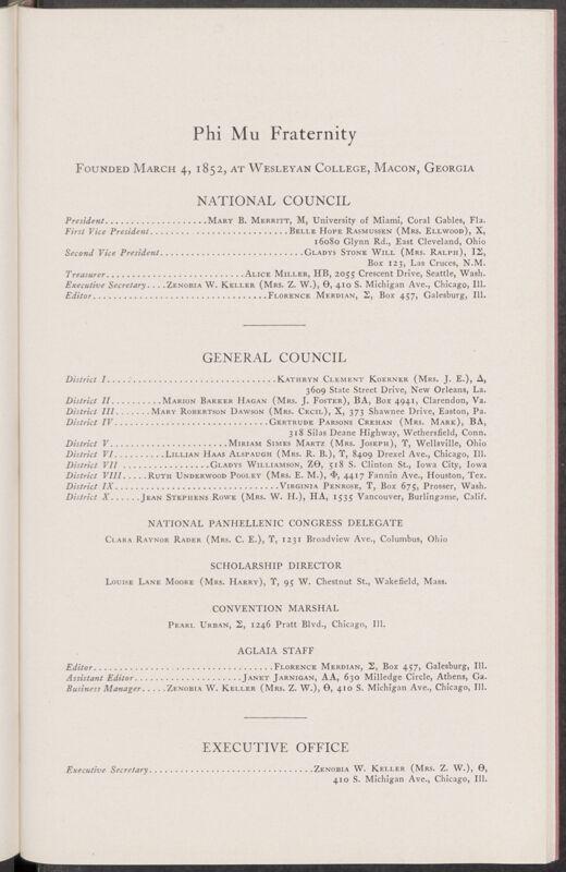 Phi Mu Fraternity Directory, January 1935 (Image)