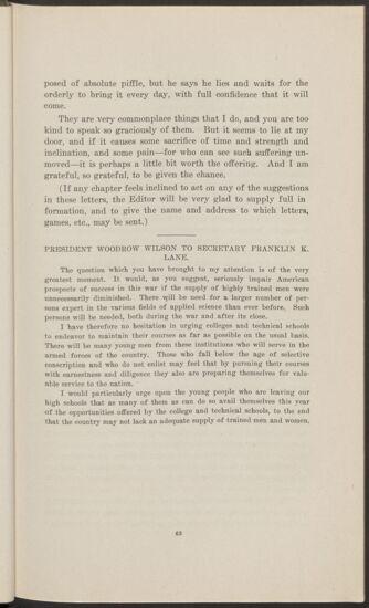 President Woodrow Wilson to Secretary Franklin K. Lane (Image)
