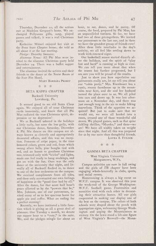 Active Chapter News: Gamma Beta Chapter, West Virginia University, January 1935 (Image)