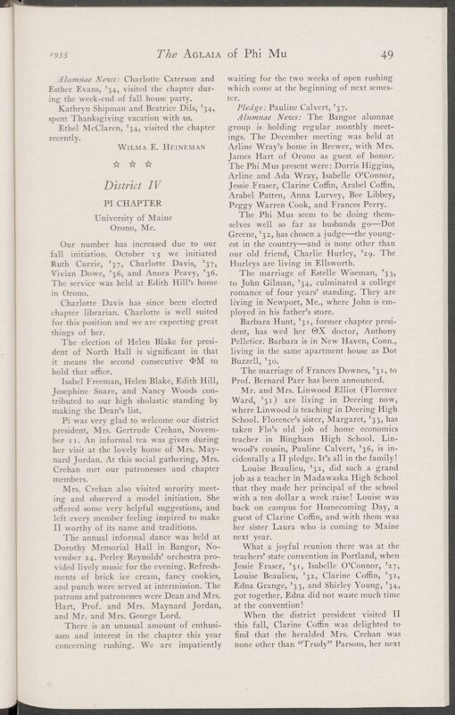 Active Chapter News: Pi Chapter, University of Maine, January 1935 (Image)