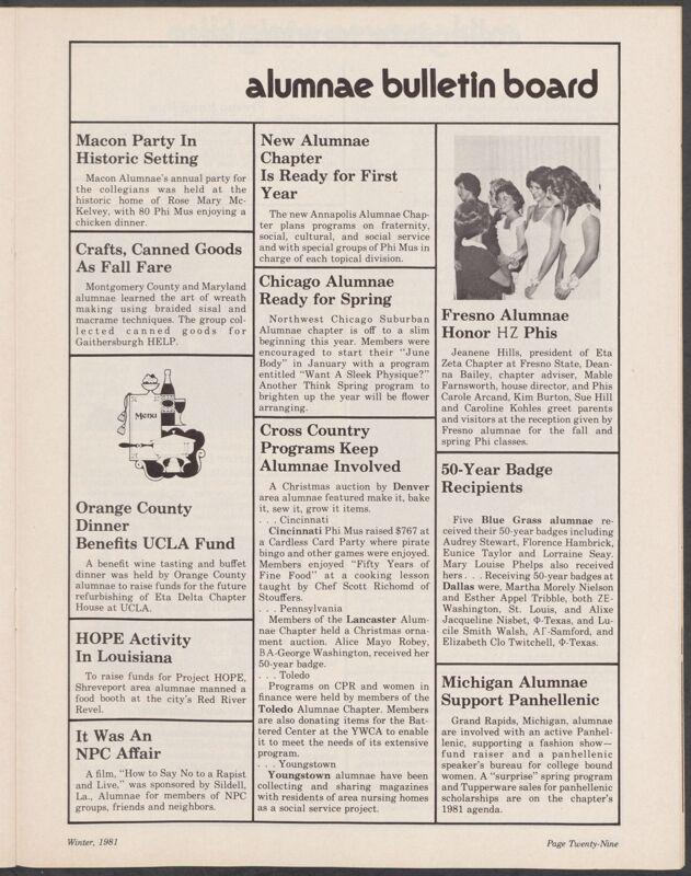 Alumnae Bulletin Board, Winter 1981 (Image)