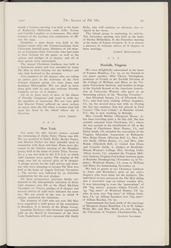 Alumnae Chapter News: New York, January 1940 (Image)