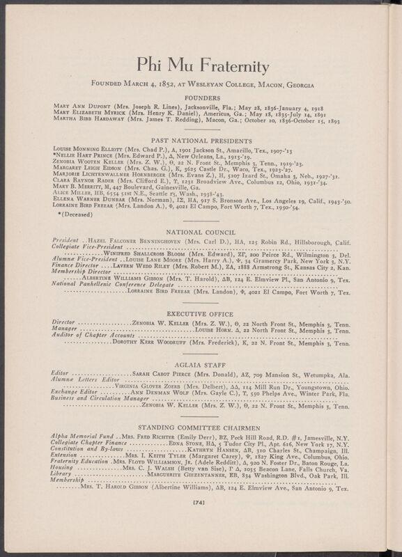 Phi Mu Fraternity Directory, Summer 1956 (Image)