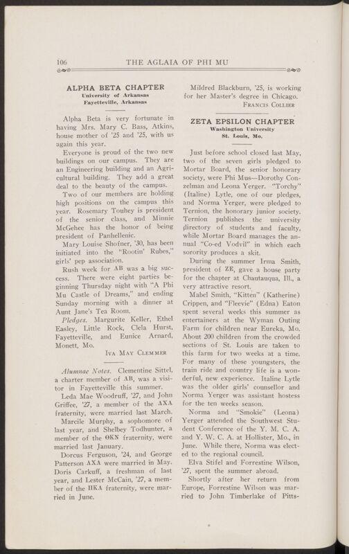 Chapter Letters: Alpha Beta Chapter, November 1927 (Image)