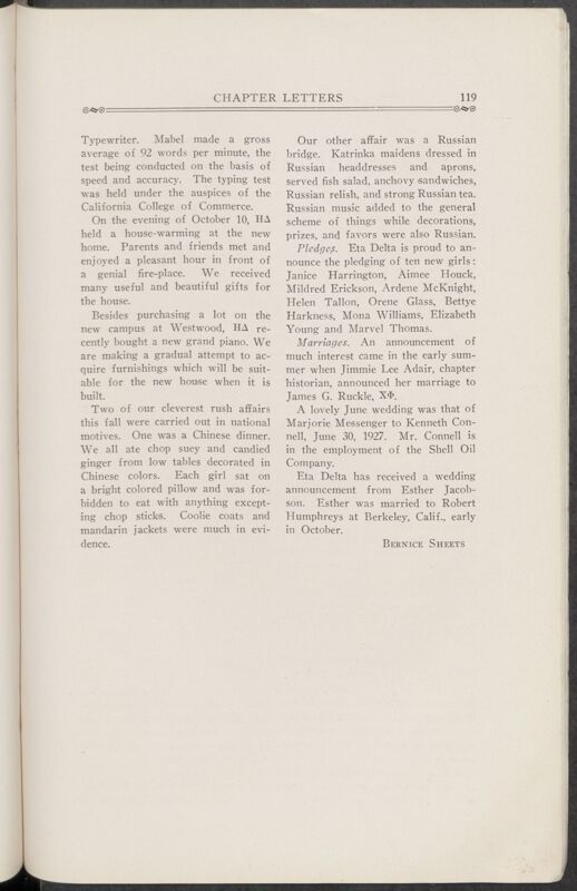 November 1927 Chapter Letters: Eta Delta Chapter Image
