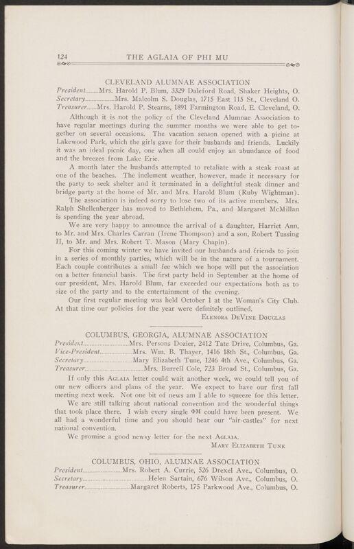 Alumnae Associations: Columbus, Georgia Alumnae Association, November 1927 (Image)