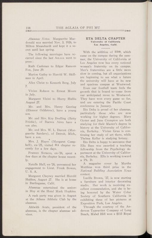 Chapter Letters: Eta Delta Chapter, November 1927 (Image)
