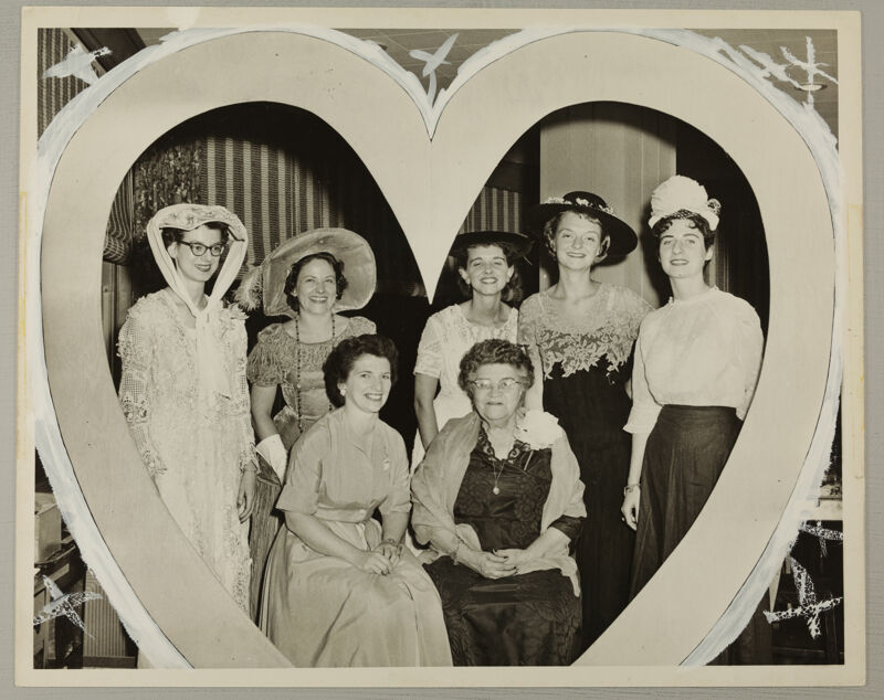 Seven Phi Mus in Convention Skit Photograph with Marks, June 16-20, 1958 (Image)