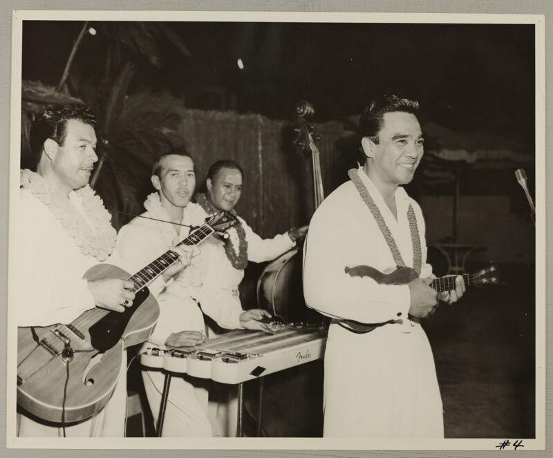 Musicians Performing at Convention Hawaiian Luau Photograph, July 11, 1954 (Image)