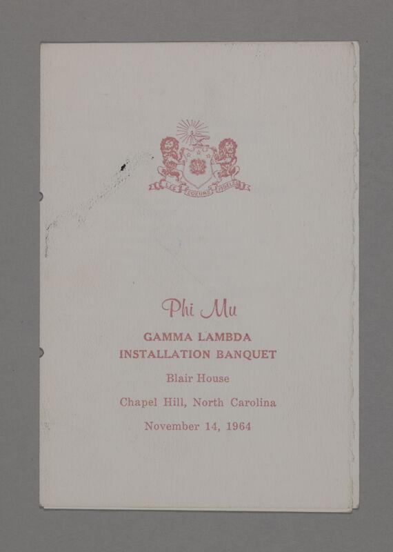 Gamma Lambda Installation Banquet Program, November 14, 1964 (Image)