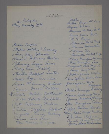 Phi Mu National Secretary Convention Delegate List, 1923 (Image)