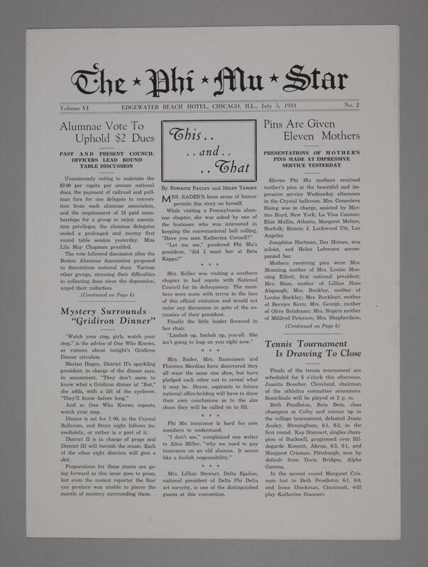 The Phi Mu Star, Vol. 6, No. 2, July 5, 1934 (Image)