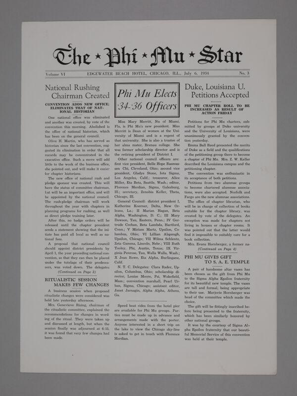 The Phi Mu Star, Vol. 6, No. 3, July 6, 1934 (Image)
