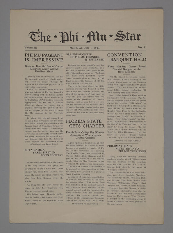 The Phi Mu Star, Vol. 3, No. 4, July 1, 1927 (Image)