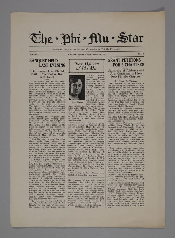 The Phi Mu Star, Vol. 5, No. 4, June 27, 1931 (Image)