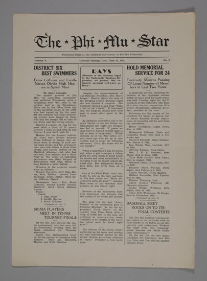 The Phi Mu Star, Vol. 5, No. 3, June 25, 1931 (image)