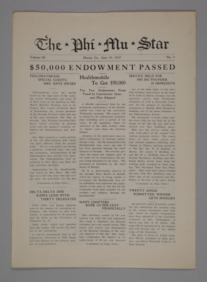 The Phi Mu Star, Vol. 3, No. 3, June 30, 1927 (image)