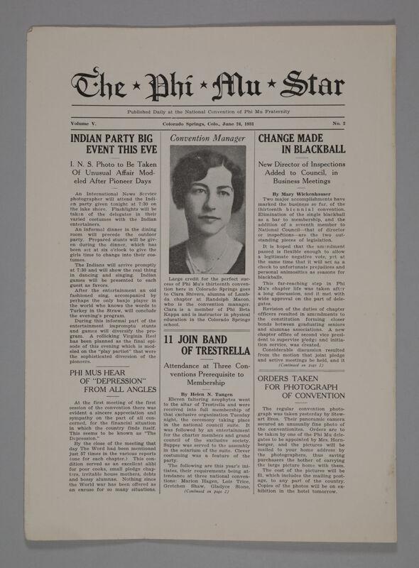 The Phi Mu Star, Vol. 5, No. 2, June 24, 1931 (Image)