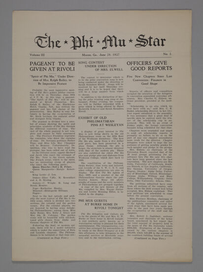 The Phi Mu Star, Vol. 3, No. 2, June 29, 1927 (image)