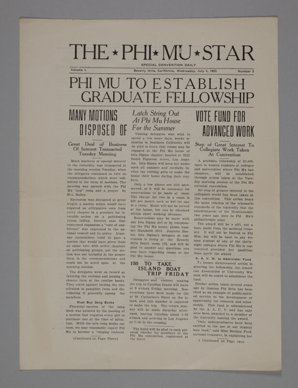 The Phi Mu Star, Vol. 1, No. 3, July 4, 1923 (Image)