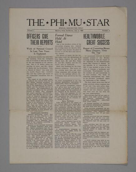 The Phi Mu Star, Vol. 1, No. 2, July 3, 1923 (image)