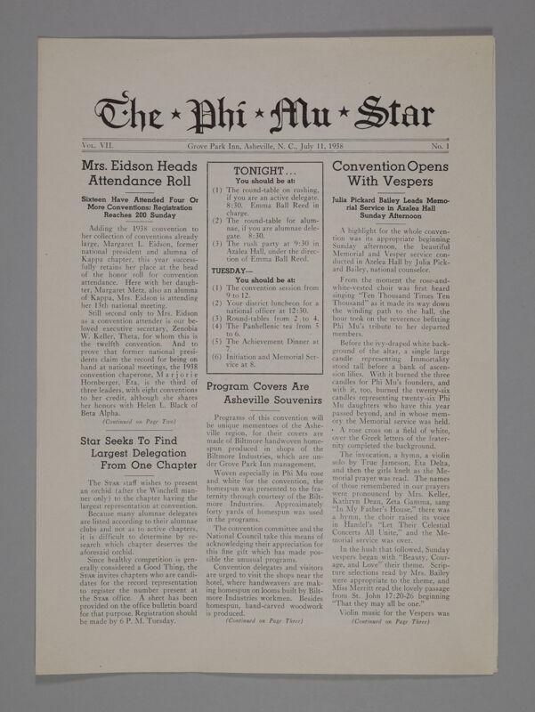 The Phi Mu Star, Vol. 7, No. 1, July 11, 1938 (Image)