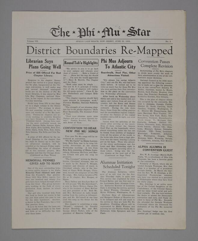 The Phi Mu Star, Vol. 7, No. 3, June 25, 1936 (Image)