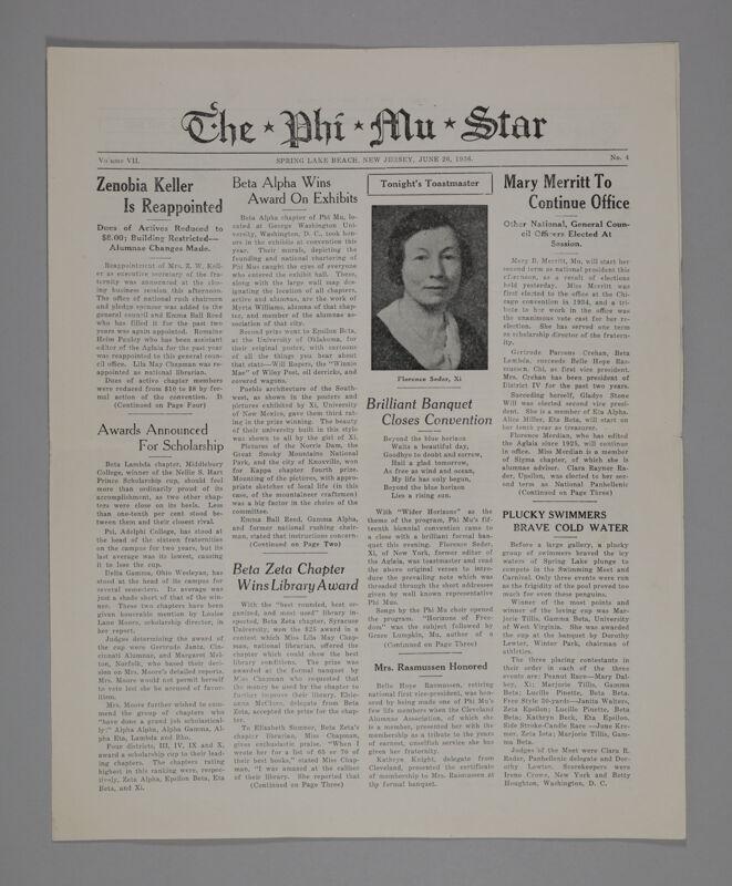 The Phi Mu Star, Vol. 7, No. 4, June 26, 1936 (Image)