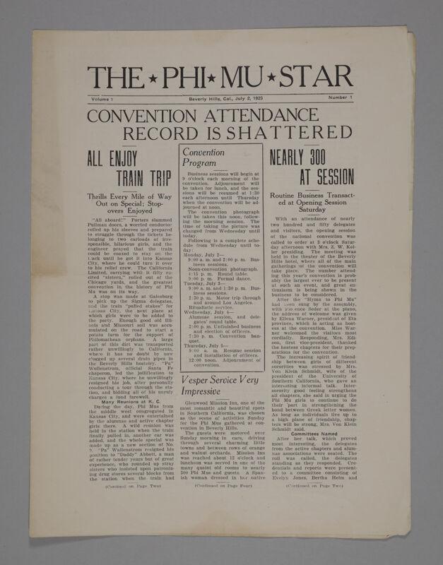 The Phi Mu Star, Vol. 1, No. 1, July 2, 1923 (Image)