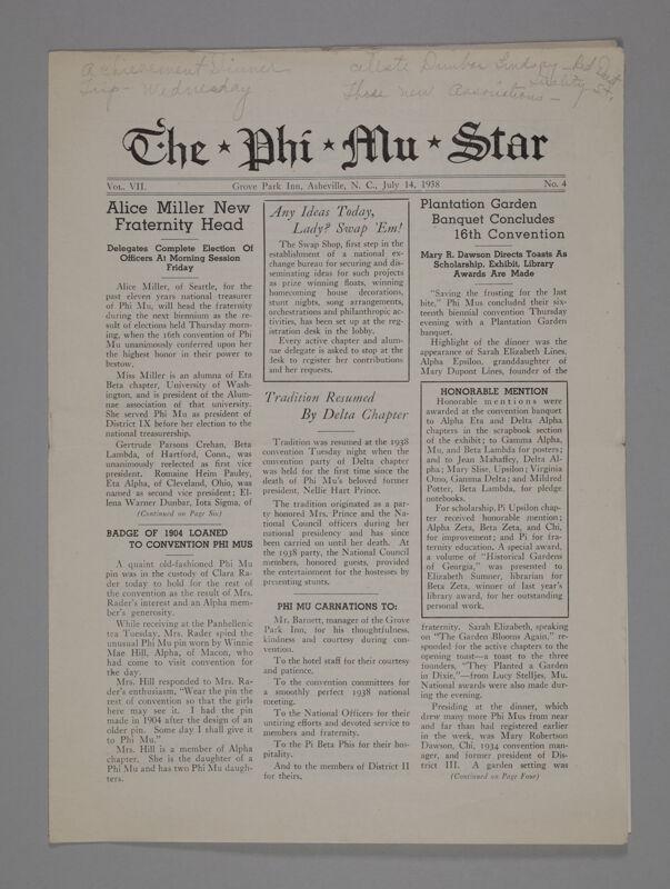 The Phi Mu Star, Vol. 7, No. 4, July 14, 1938 (Image)
