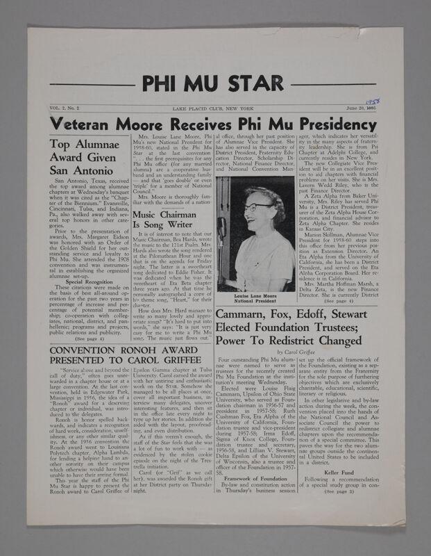 Phi Mu Star, Vol. 2, No. 3, June 20, 1958 (Image)