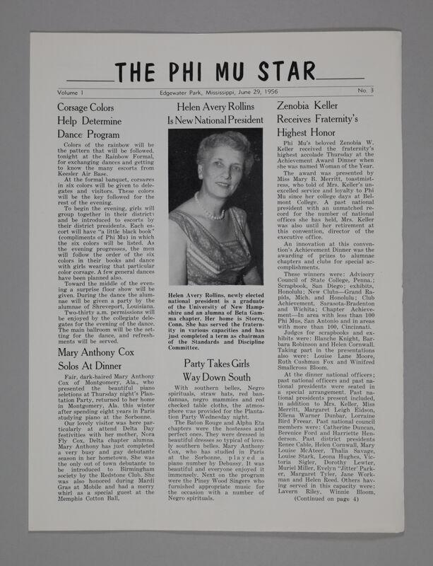 The Phi Mu Star, Vol. 1, No. 3, June 29, 1956 (Image)