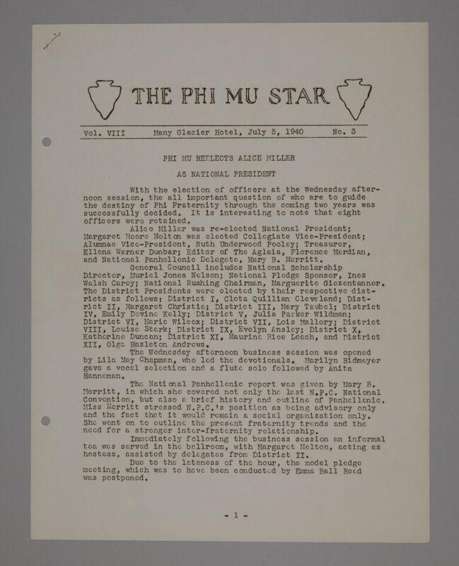The Phi Mu Star, Vol. 8, No. 3, July 5, 1940 (Image)