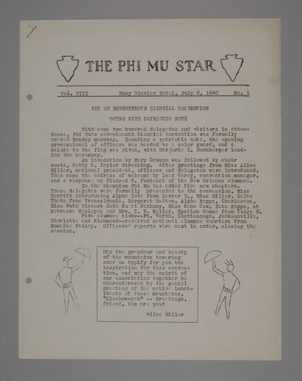 The Phi Mu Star, Vol. 8, No. 1, July 2, 1940 (image)