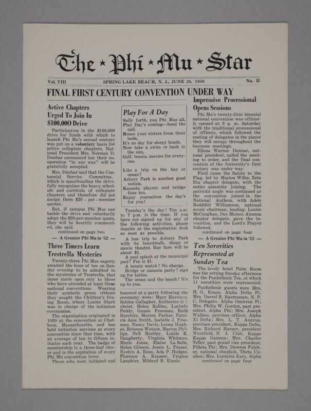 The Phi Mu Star, Vol. 8, No. 2, June 26, 1950 (Image)
