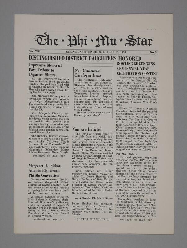 The Phi Mu Star, Vol. 8, No. 3, June 27, 1950 (Image)