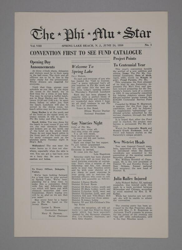 The Phi Mu Star, Vol. 8, No. 1, June 24, 1950 (Image)