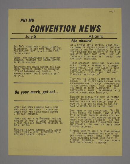 Phi Mu Convention News, July 5, 1978 (image)