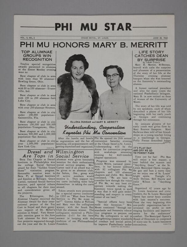 Phi Mu Star, Vol. 3, No. 2, June 28, 1960 (Image)