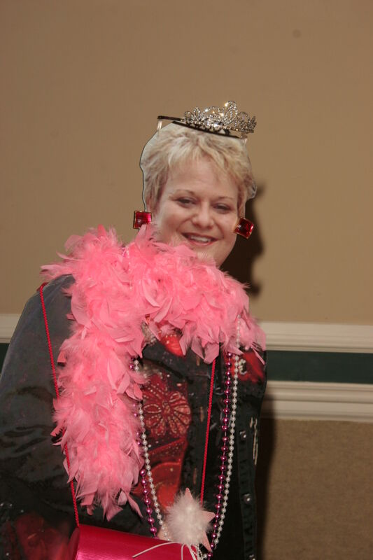 Cardboard Image of Kathy Williams in Feather Boa at Convention Photograph, July 2006 (Image)