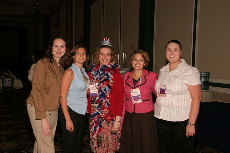 Forscher, Kovreg-Sherman, Meyer, and Two Unidentified Phi Mus at Convention Photograph 1, July 2006 (Image)