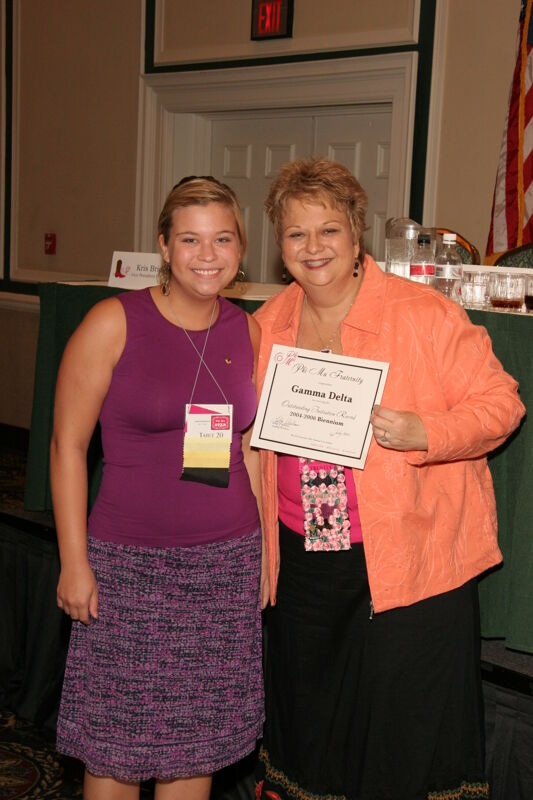 Kathy Williams and Gamma Delta Chapter Member With Certificate at Friday Convention Session Photograph 2, July 14, 2006 (Image)