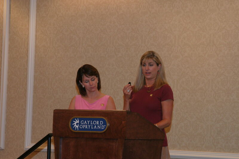 Beth Monnin and Andie Kash Speaking at Convention Officer Meeting Photograph 2, July 2006 (Image)