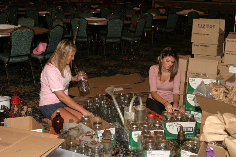 Phi Mus Unpacking Mason Jars at Convention Photograph, July 2006 (Image)