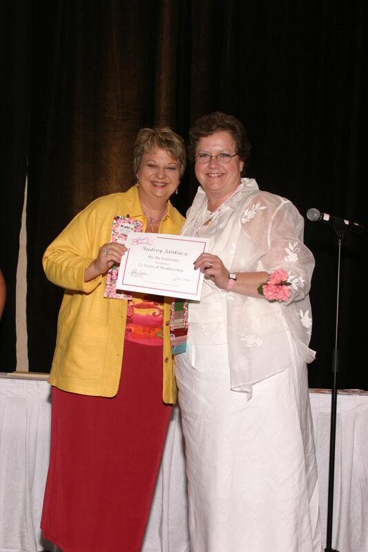 Kathy Williams and Audrey Jankucic With Certificate at Convention Sisterhood Luncheon Photograph, July 8-11, 2004 (Image)