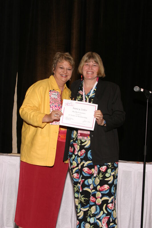 Kathy Williams and Nancy Zoller With Certificate at Convention Sisterhood Luncheon Photograph, July 8-11, 2004 (Image)