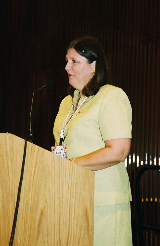 Karen Belanger Speaking at Convention Photograph, July 4-8, 2002 (Image)