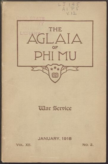 The Aglaia of Phi Mu, Vol. XII, No. 2, January 1918 Image